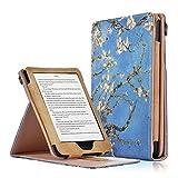 KOBO Klare HD Hülle - PU Lederhülle Schutzhülle mit Handgriff und Auto Aufwachen / Schlaf Funktion für KOBO Klare HD Touchscreen E-Book Reader 15,2 cm (6,0 Zoll) 2018 Modell, Aprikosenblüte