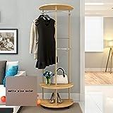 Kleiderablage ZCJB Kleiderständer Floorstanding Schlafzimmer Kleiderbügel Kleiderbügel Creative Coat Stand Double Storey (Farbe : Matte Pine Color)