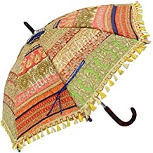 Hare Krishna Paraguas de Mujer a Mano Zari Bordado Protección Solar Viajando Parasol Plegable 61 x