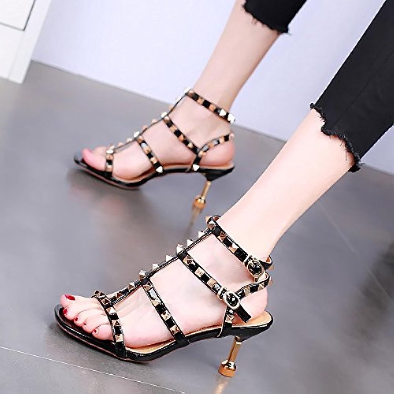 Tahari sexy super Été Chaussures Hauts Or Noir 37 Taille