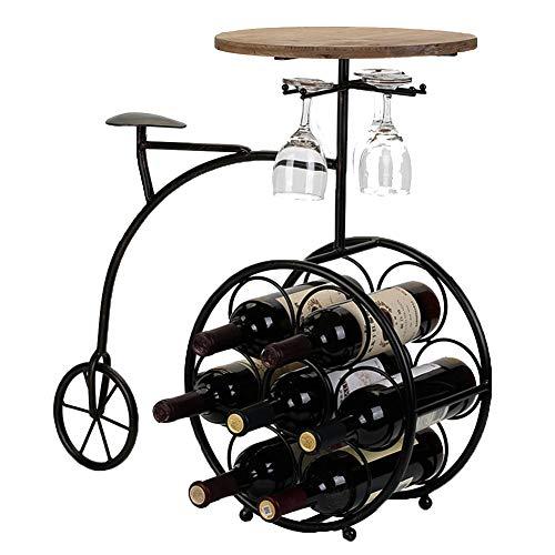 DCRYWRX Schmiedeeisen Weinregal, Becher Rack Und Wein Tisch Hängenden Getränkehalter Handwerk Weinregal Schmuck Kiefer Handgefertigt(3 in 1) -