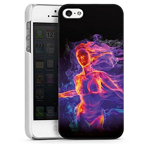 Apple iPhone 4 Housse Étui Silicone Coque Protection Feu Feu Femme CasDur blanc