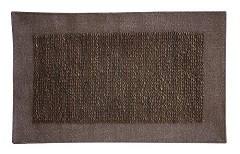 Platinum Collection - Carpet of modern design Geo 200x300 dark brown - Hand Made With Leather Stripes Interwoven