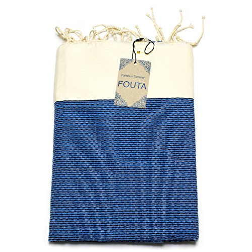 Extra Weiches Fouta Hamam-Tuch Sauna-Tuch Pestemal XXL Extra Groß 190 x 100cm - 100% Baumwolle aus Tunesien als Strand-Tuch, für Bad, Picnic, Yoga, Schal (Orientalisches Türkisches Bade-Tuch) (Blau)