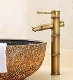 LHbox Bad Armatur in Bad für Waschbecken Waschtisch Wasserhahn Waschtischarmatur Europäische Retro Stil, Kupfer, heiß und Kalt, Bambus, Einloch Becken, Handwäsche in der Spüle Mixer, 5.