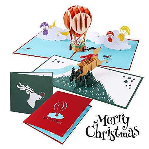 Atrigger Pop-Up Weihnachtskarte,Sätze Rentier& Weihnachtsmann 3D Karte zu Weihnachten, Grußkarten,Weihnachtsgrußkarten