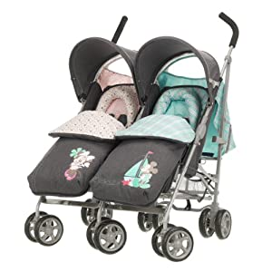 Obaby Apollo V2 Twin Stroller with Footmuffs - Retro Minnie & Mickey Denim by Disney