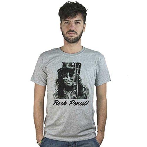 T-Shirt Guns & Roses Rock Pencil, maglietta grigia Slash, Disegno stile Matita