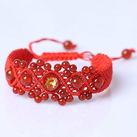Artisan pulsera joyas accesorios pulsera regalo decoradas de navidad color rojo con cordón de la suerte Cábala hechos a mano para logro y