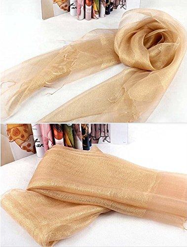 Upper-luxury Femme Soie double couche mince Couleur unie en soie foulards châles écharpes doré