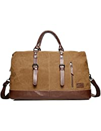 6373c2ee8e Fresion Canvas Leather Weekender Overnight Holdall Tote Bag with Metal  Buckle for Men and Women
