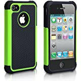 Yousave Accessories Dual Combo Grip Back Hard/Soft Silicone Gel Case with Screen Protector Film, Grey Micro Fibre Polishing Cloth for Apple iPhone 4/4S - Green/Black