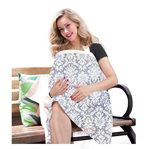 Motherly Nursing Breastfeeding Cover Scarf Cloth- Breast Feeding shawl (Gray/White Flower Print)