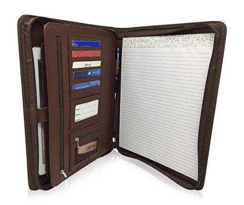 Reißverschluss Leder Business Mappe Padfolio-Professionelle Portfolio Binder & Organizer Ordner mit 26,7cm Tablet Sleeve von Lautus Designs dunkelbraun (Ordner-tab Binder)