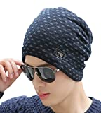 #8: iSweven 1067b Blue imported Fancy beautifully wooven expandable very soft beanie cap hat for Men Women GIrls