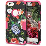 iPhone 6S Case,iPhone 6 Case,TOPSKY[Heavy Duty] Three Layers Rugged Armor Shockproof Soft Silicone Anti-Scratch Anti-Fingerprint Hard PC Hybrid Protective Case for iPhone 6/6s,Flower 2 Hot Pink