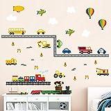 decalmile Adesivi da Parete Bambini Trasporto Adesivi Murali Auto da Costruzione Mongolfiera Aereo Camerette Ragazzi Asilo Nido Decorazione Murale