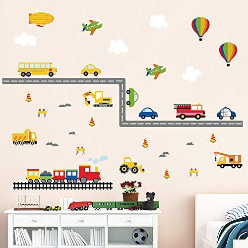 Adesivi Da Parete Per Bambini.Decalmile Adesivi Da Parete Bambini Trasporto Adesivi Murali Auto Da Costruzione Mongolfiera Aereo Camerette Ragazzi Asilo Nido Decorazione Murale