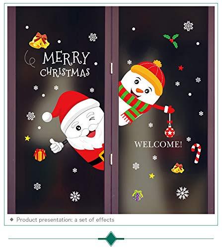 ihnachten Wandtattoo Weihnachtsmann Nikolaus Hirsch Schneeflocke Frohe Weihnachten Dekoration Abnehmbar Wandaufkleber Festliche Kinder Deko Urlaub Tür Fenster Dekoration Style D ()