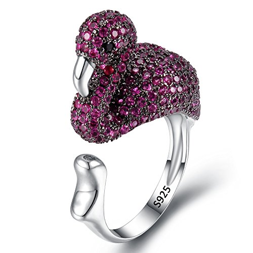 EVER FAITH 925 Sterling Silver CZ Lovely Fuchsia Flamingo Animal Statement Cuff Ring For Girl Women