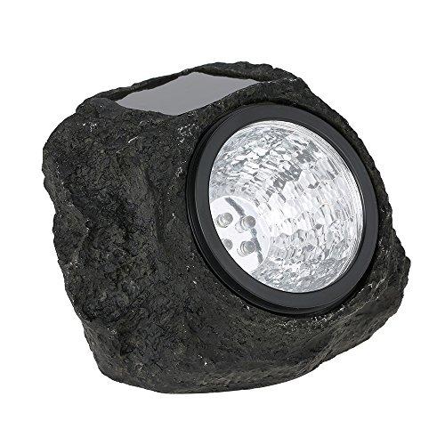Lixada Luz Accionada Solar Estilo Piedra 4LED Lámpara de Noche Artificial Resistente Al Agua IP65 para Patio Jardín
