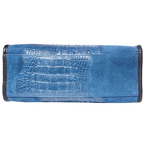 offene Tragetasche in geprägtem Krokodilkalbslackleder 7004 Marine blau
