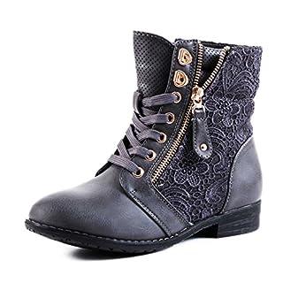 Stylische Damen Stiefeletten Worker Boots Spitze in hochwertiger Lederoptik, Anthrazit, 43 EU