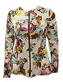 Chocolate Pickle ® Neue Dame-Blumen Langarm-Blazer mit Jacke mit Schößchen