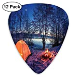 Guitar Picks 12-Pack,Dark Night Camping Tent Photo In Winter On Snow Covered Lands By The Lake