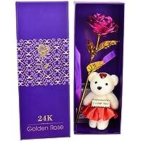 stagnola d.b nel '24 K oro artificiale colorato fiore rosa con un bel orsi. regalo di compleanno, festa della mamma, regalo, idea regalo per San Valentino, anniversari, la scelta migliore per la fidanzata d'oro