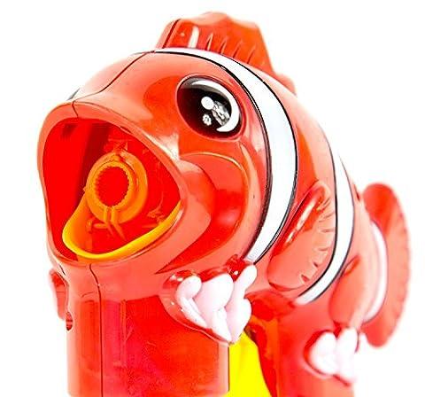 Fisch-LED Clown Fisch Seifen-Blasen-Pistole Blubber-Waffe Kinder-Spielzeug Rot-Weiß Kinderparty (Riesen Licht-sets)
