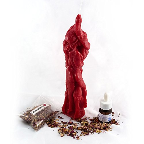 Pack de Amor esotérico - Vela roja abrazo de amor - Un paquete de Pétalos de rosa - Aceite esencial natural Rosa Damascena
