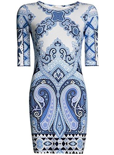 oodji Ultra Damen Enges Jersey-Kleid Blau (7510E)