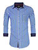 KUULEE Trachtenhemd Herren Kariert Freizeithemd Landhausstil Langarmhemd Slim Fit Hemd Bestickt Baumwolle - für Oktoberfest, Business, Freizeit Blaue Nähte L-38