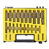 Starnearby - 150 pezzi, kit di mini frese a spirale per trapano a mano di micro-precisione, in HSS, con custodia da trasporto, da 0,4mm a 3,2mm, 24misure