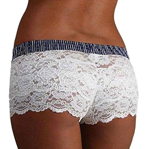 Yogogo Neue Reizvolle Lace Schlüpfer Lingerie Boxer Briefs Unterwäsche Slips für Frauen (M, Weiß) (Neue Uniform Taille Weiße Elastische)