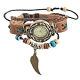 Souarts Damen Braun Flügel Geflochten Armbanduhr Armreif Uhr mit Batterie Zifferblatt