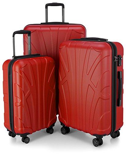 SUITLINE - 3er Koffer-Set Trolley-Set Rollkoffer Hartschalen-Koffer Reisekoffer, TSA, (S, M & L), Koffer-Set, 76 cm, 210L, Rot