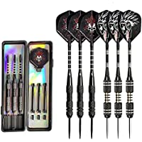UMsky Darts, 6PCS 24 Grams Brass Barrels Stainless Steel Needle Tip Aluminum Shaft Flights Dart With 6 Free PVC Shafts Rods, 6 thick PET flights and 2 Free PVC Boxes