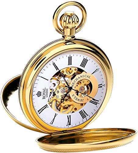 Royal London Taschenuhr Mechanikuhr Skelettanzeige Edelstahl gold analog 90048-02