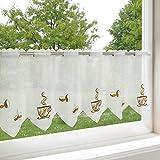Scheibengardine KAFFEEPAUSE für die Küche / Gardine mit Kaffee-Motiv / 45x115 cm / Bestickte, moderne und transparente Bistrogardine für die Küche