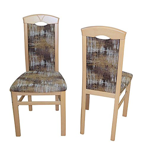 Pharao24 Stuhl Set aus Buche Massivholz Bunt Webstoff