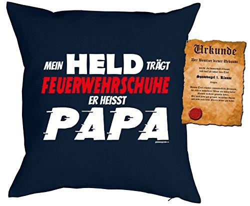 feuerwehrschuhe kinder Kinder/Väter/Deko-Kissenbezug ohne Füllung inkl. Spaß-Urkunde lustige Sprüche: Mein Held trägt Feuerwehrschuhe Er heisst Papa