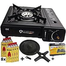 Estufa De Gas Camping Cocina con 8 Gas kar aplicar el rimel Portátil + Accesorio de parrilla Bandeja del grill + Maleta - Negro / Rojo / Gris / Azul