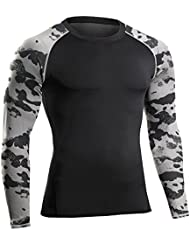 Bwiv t shirt compression homme manches longues motif de camouflage