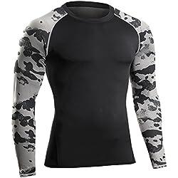 Bwiv camiseta de compresiòn hombre manga larga con estampado de camuflaje Negro camuflaje M