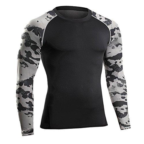 Bwiv maglia compressione uomo manica lunga con stampa mimetica maglia da corsa nero mimetico l