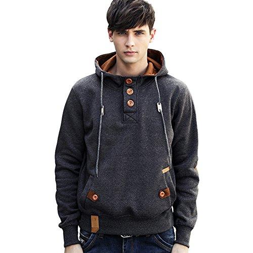 Designs Kinder Sweatshirt (Newbestyle Frühling Herbst Sweatshirt Jungen Herren Knöpfe Design Kapuzenpulli Hoodie)