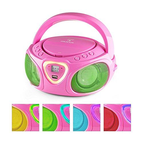 auna Roadie • boombox compatta • radio portatile • stereo con lettore CD • Connettivita' Bluetooth • ingresso USB MP3 • radio OM/OUC • effetti LED • 2 altoparlanti integrati • antenna estraibile • rosa