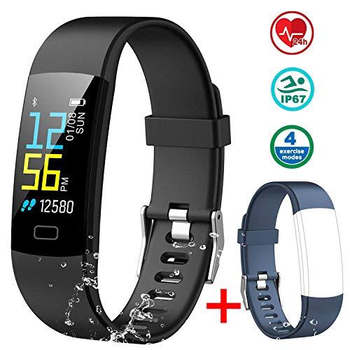 MAYIBAN Pulsera de Actividad Inteligente, Pulsera Actividad con Monitor Ritmo Cardíaco, Calorías y Sueño Podómetro GPS Cronómetro IP67 Pulsera Inteligente para iOS y Android